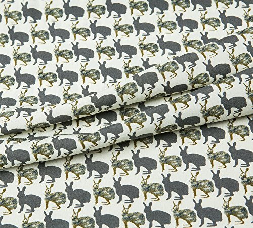 Printed Pure Cotton Fabric, Faux Crepe De Chine, Rabbit Or Kangaroo Prints, Good Drape, 54.33