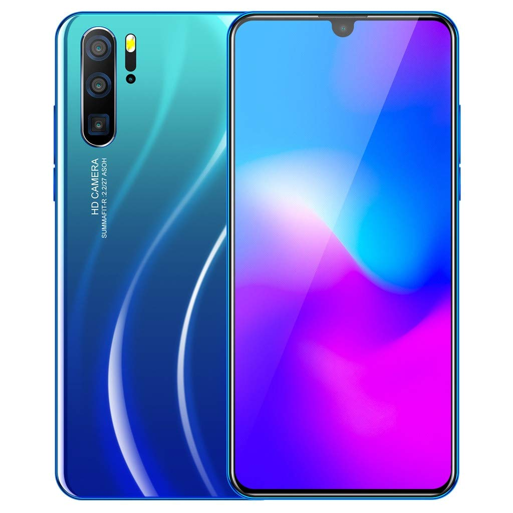 Android 9.1 - 64 GB - Dual Camera - Dual SIM Unlocked Smartphone - 6.3'' HD + 18:9 LCD Screen - Face Recognition (Blue) by QYuan