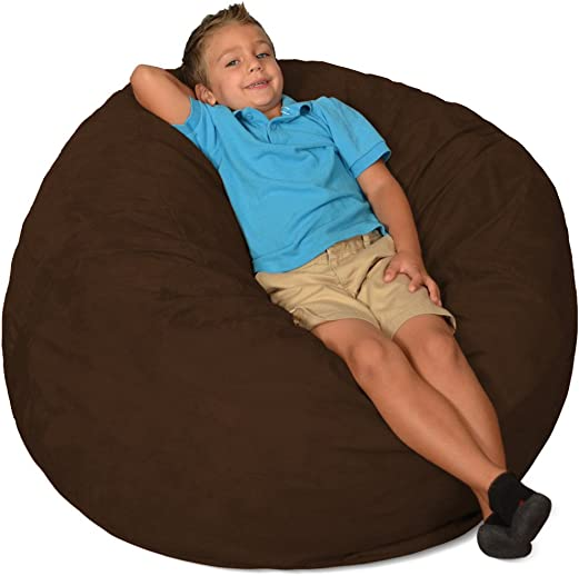 Comfy Sacks 3 ft Memory Foam Bean Bag Chair, Chocolate Micro Suede