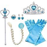 Vicloon 8 Piezas Conjunto con Accesorios de Princesa del Hielo Elsa, Contiene Guantes, Varita, Corona, Anillo…