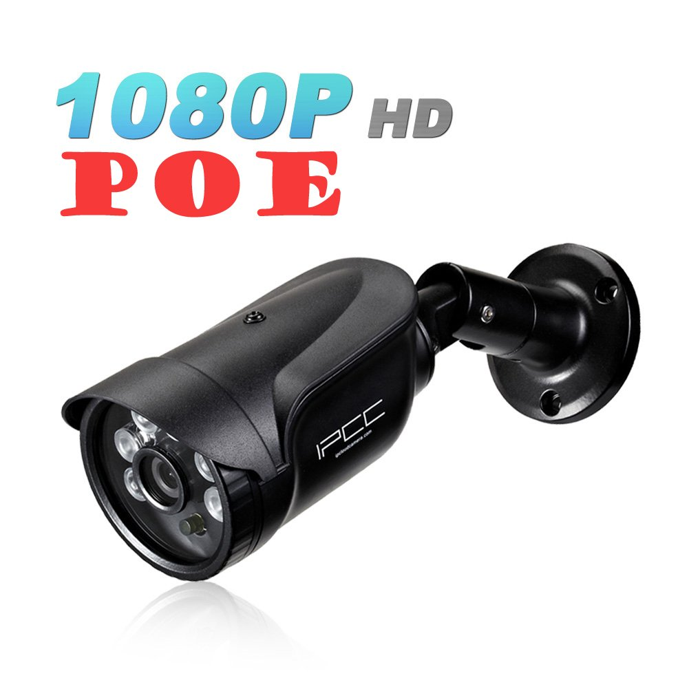 Security Surveillance POE IP Camera 1080P (Power Over Ethernet) Need 802.3af Switch Bullet HD Outdoor Indoor ONVIF Web RTSP IE Email Alarm Motion Detection IR Night Vision IP66 Waterproof Ipccam