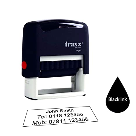 Traxx 9011 38 X 14mm Personalised Custom Made Self Inking Business Address Rubber Stamp 3 Lines Of Text Black Ink Pad