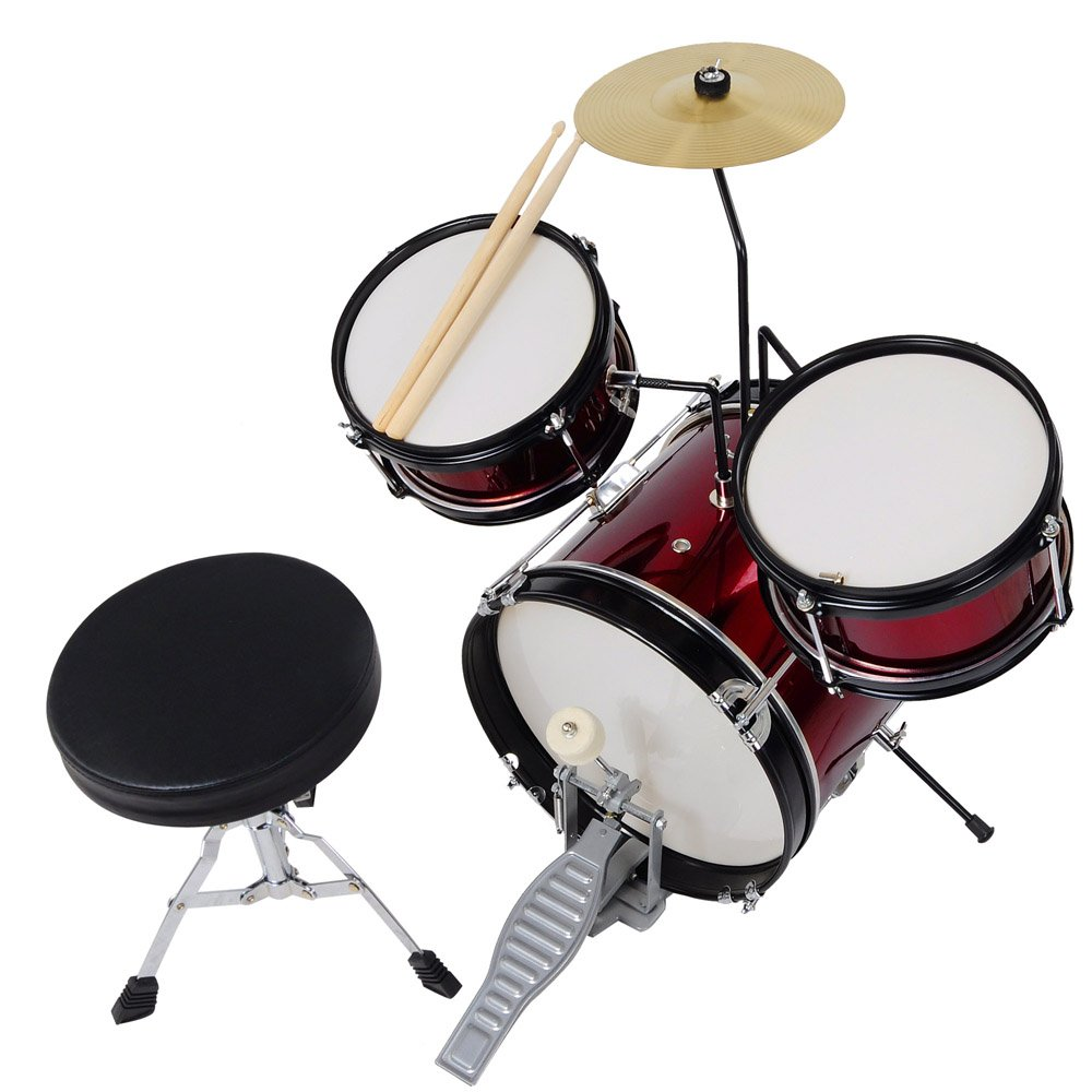 3pcs Junior Kids Child Drum Set Kit Sticks Throne Cymbal Bass Snare Boy Girl Red AW AW-DRM000015