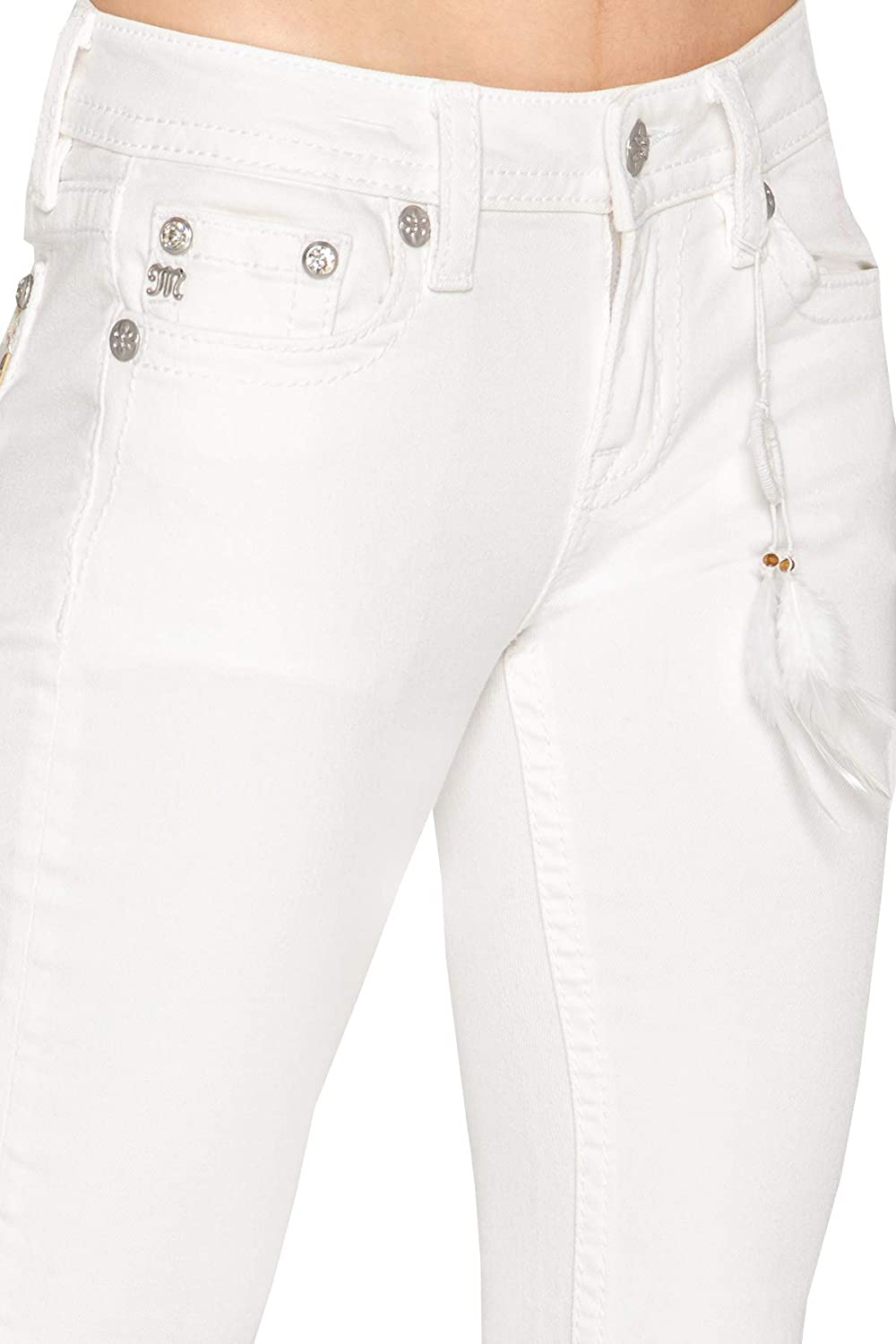 Miss Me Horseshoe Bootcut Jeans in White