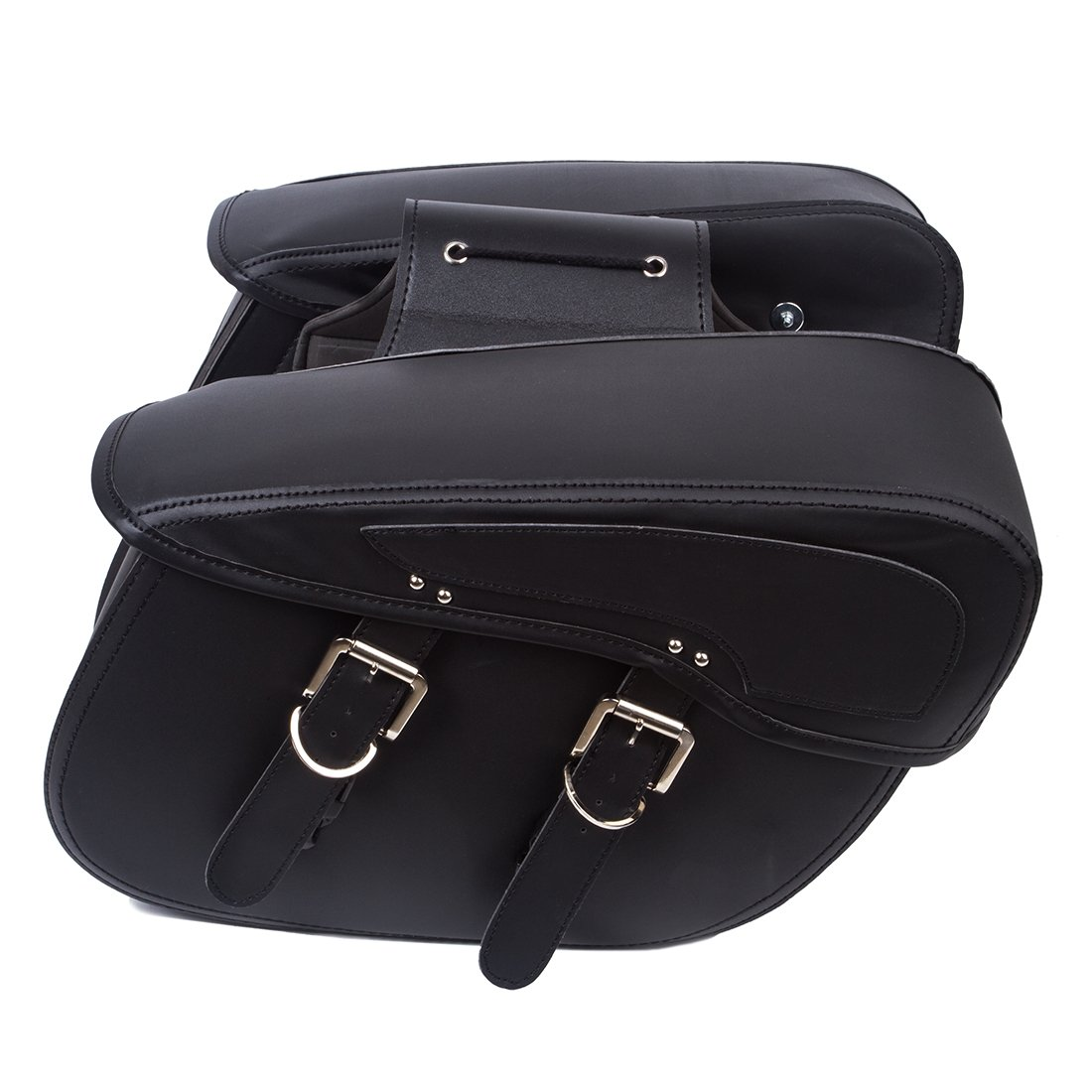 OHMOTOR 2PC Motorcycle Synthetic Leather 2-Strap Saddlebag Tool Bag Heavy-Duty Waterproof PVC
