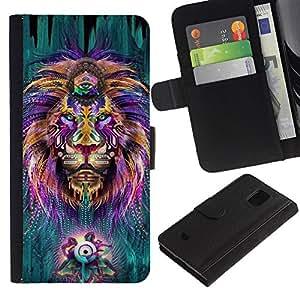 APlus Cases // Samsung Galaxy S5 Mini, SM-G800, NOT S5 REGULAR! // León Hippy tercer ojo Zen Alternativa Rey // Cuero PU Delgado caso Billetera cubierta Shell Armor Funda Case Cover Wallet Credit Card