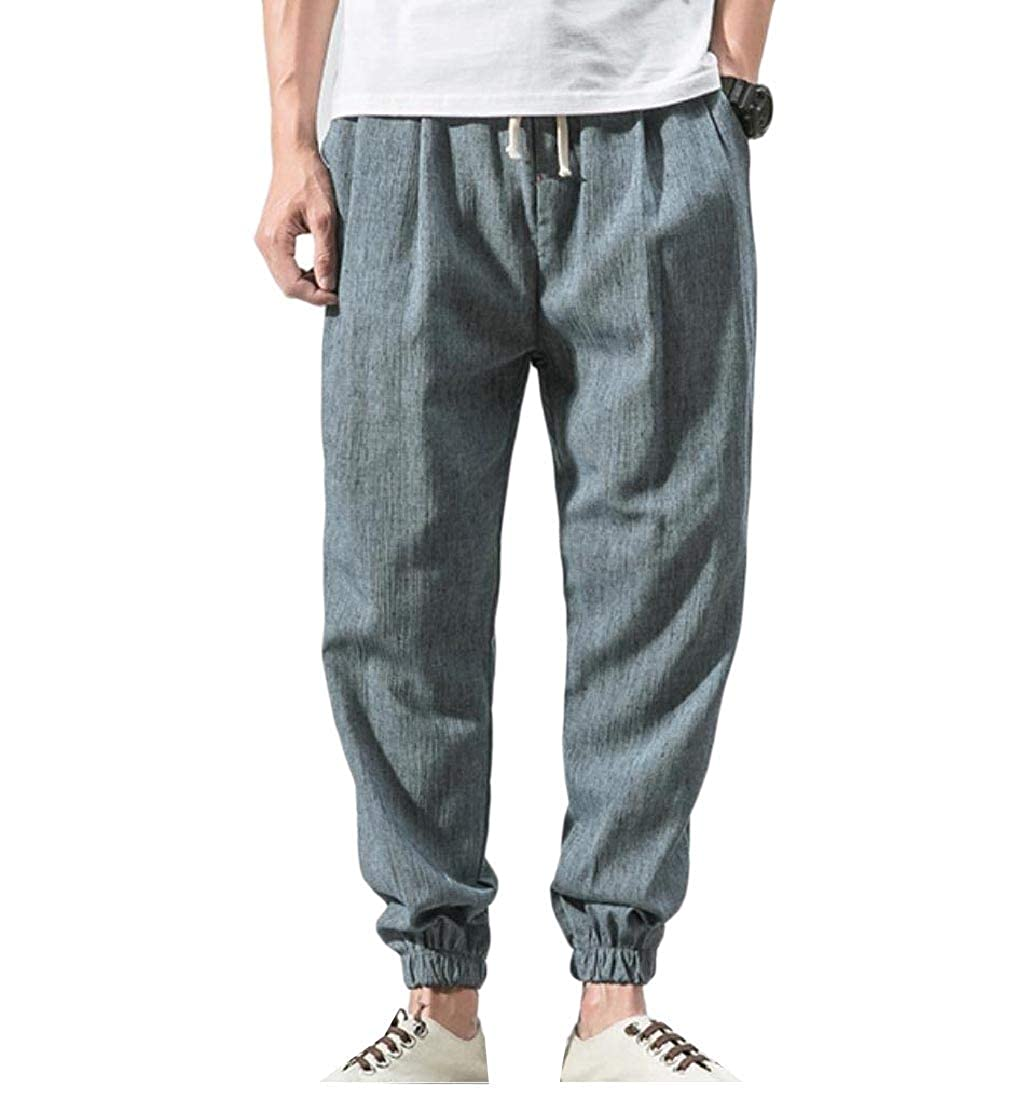 Yanzi Mens Casual Plus Size Chinese Style Linen Cotton Harem Trousers