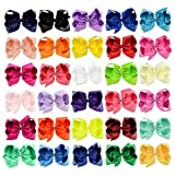 Hair Bows Grosgrain Ribbon 6'' 30pcs Baby Girl Large Boutique Alligator Clips Headbands Rainbows HairBows For Teens Kids cute Gift