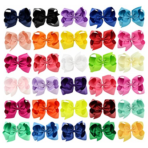 Price comparison product image Hair Bows Grosgrain Ribbon 6'' 30pcs Baby Girl Large Boutique Alligator Clips Headbands Rainbows HairBows For Teens Kids cute Gift