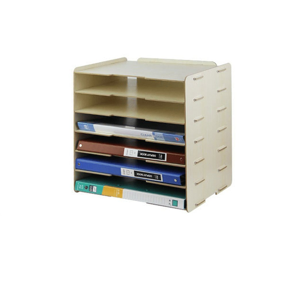 File Cabinets Wooden Korean Style 6-Layer A4 Document Shelf File Box Office DELICATEWNN (Color : A)
