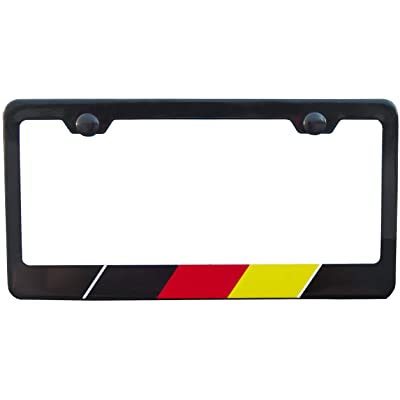 International Tie License Plate Frame, Made with High Grade 304 Stainless Steel (Black German): Automotive