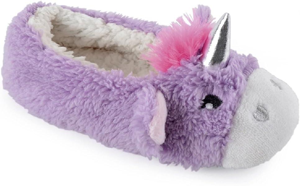 Girls Novelty Unicorn Ballet Slippers with 3D Horn