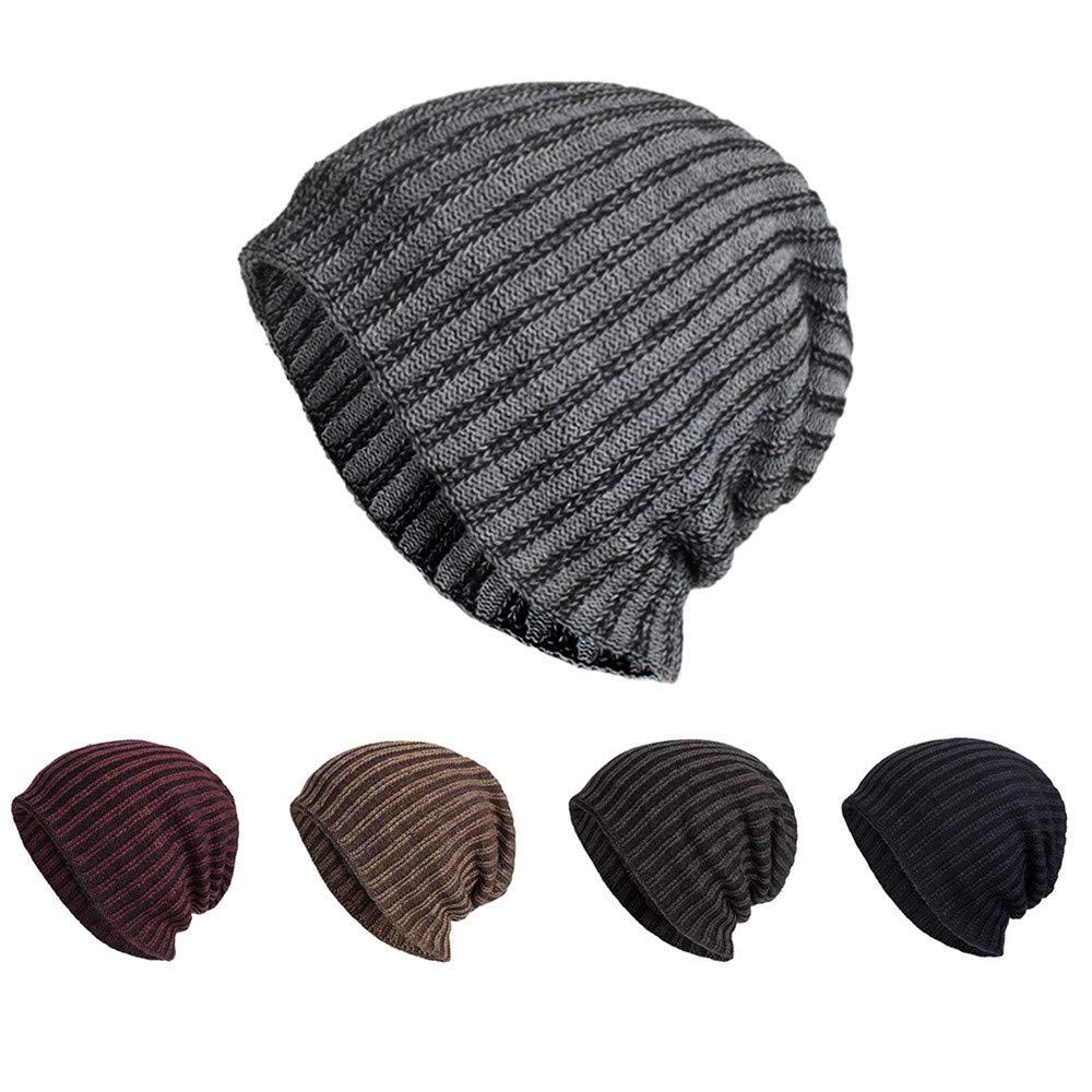 70c3827fc25fc iYBUIA Women Men Warm Baggy Weave Crochet Winter Wool Knit Ski Beanie Skull  Caps Hat(Black