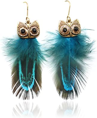 Vintage Feather Drop Earrings for Women Cute Animal Jewelry for Girls MUZHE Retro Owl Dangle Earrings Blue