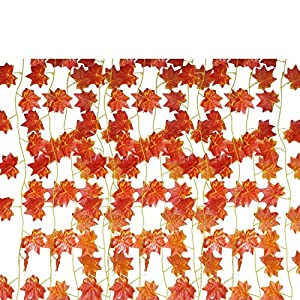 EBTOYS Artificial Maple Leaf Garlands Fake Maple Leaf Garland Hanging for Thanksgiving Outdoor Garden Fall Decor,12-Pack (90 Feet) 20