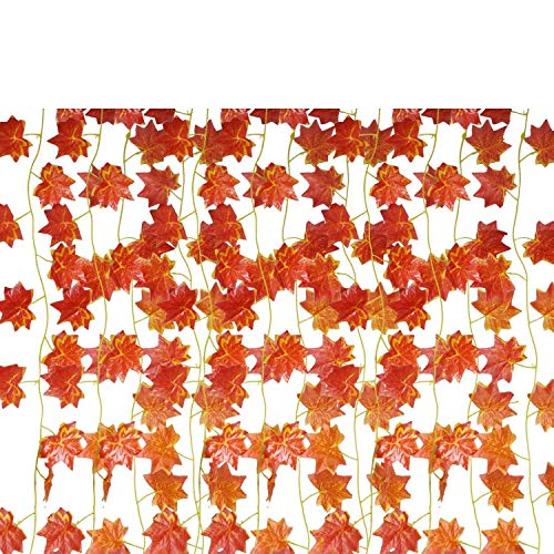 EBTOYS Artificial Maple Leaf Garlands Fake Maple Leaf Garland Hanging for Thanksgiving Outdoor Garden Fall Decor,12-Pack (90 ()