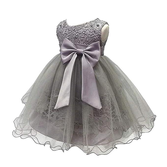 XFentech Vestido de Fiesta para Niñas - Vestidos de Princesa de Encaje Boda Arco Nudo Vestido de Dama de Honor: Amazon.es: Ropa y accesorios