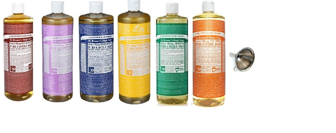 Dr. Bronner's Pure Castile Soap Ultimate Rainbow 6 Variety Pack, 32 oz