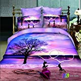 The Ink painting Lotus Beach Dance Home Textile 3d Bedding Sets 4pcs Duvet Cover sets 100% Cotton Christmas Gift (Comforter Not Included) (1)