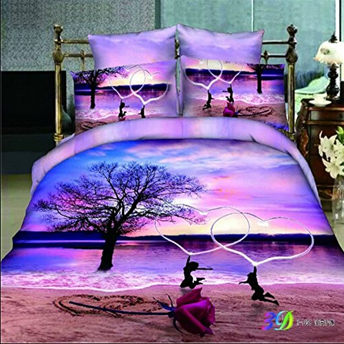 The Ink painting Lotus Beach Dance Home Textile 3d Bedding Sets 4pcs Duvet Cover sets 100% Cotton Christmas Gift (Comforter Not Included) (1) by ITFRO