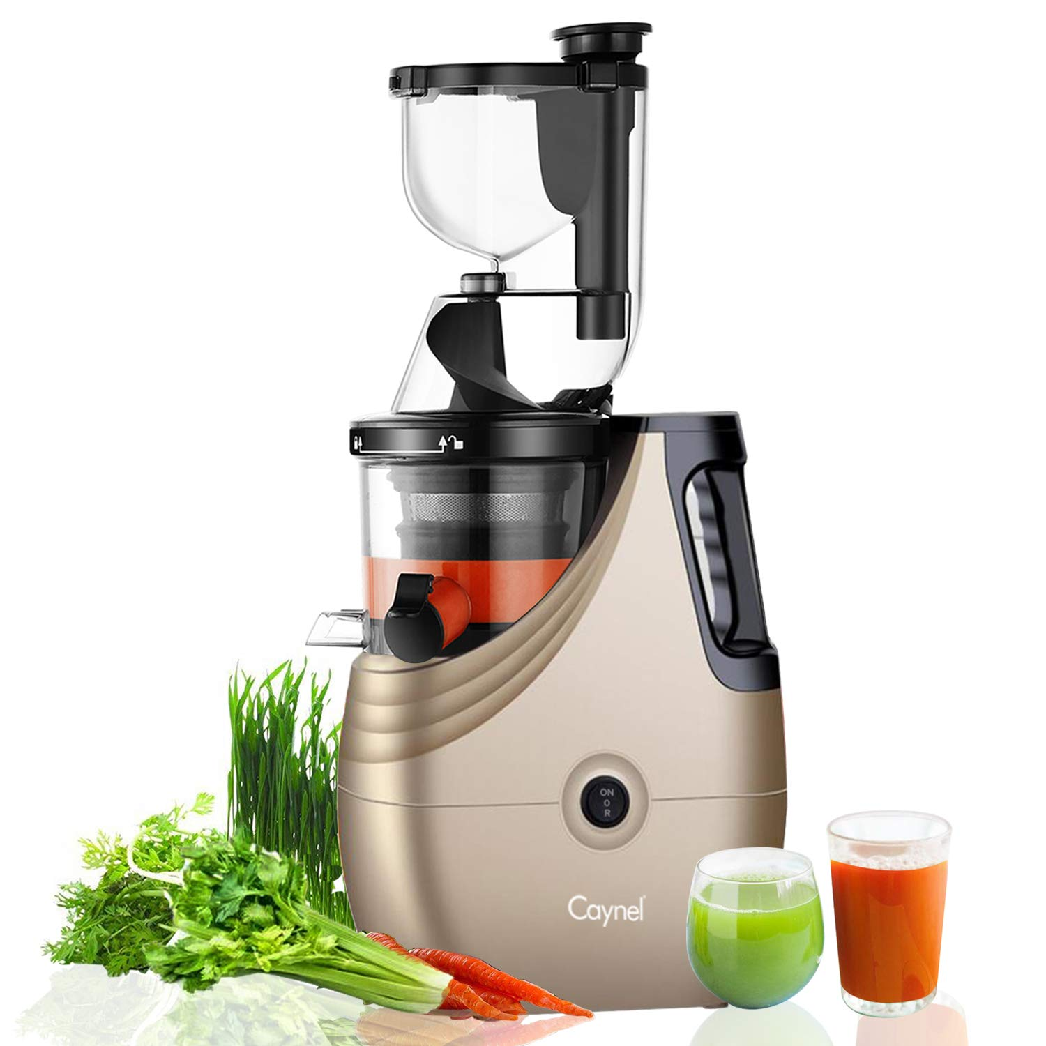 Caynel Slow Masticating Juice Extractor,Cold Press Juicer Machine with 3'' Wide Chute for Fruit and Vegetable,High Yield Vertical Juicer,BPA Free(Champagne) by CAYNEL