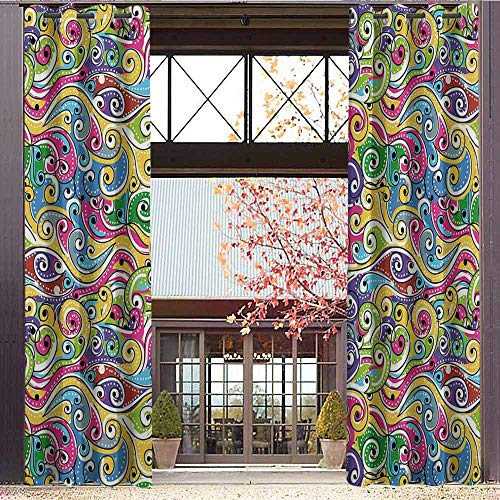 Inspired Peace Top Silk (hengshu Wave Shading Insulated Curtain Funky Colored Curves with Spiraling Ends Doodle Style Lively Summertime Inspired Art for Living Room or Bedroom W84 x L108 Inch Multicolor)