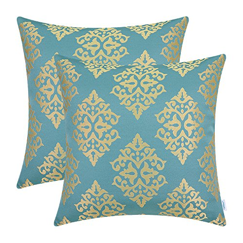 CaliTime Pack of 2 Soft Jacquard Throw Pillow Covers Cases Couch Sofa Home Decoration Vintage Damask Floral 18 X 18 inches Teal Gold