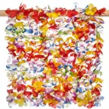 36 pack Premium Tropical Hawaiian Luau Flower Lei Necklaces - Tropical Multicolor Combo Party Set - by Haute Soiree