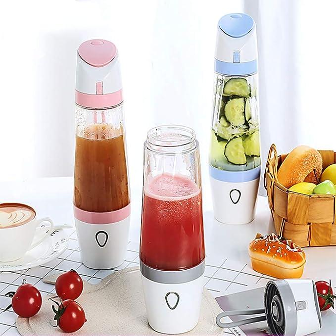 KOSHSH USB De Carga De Jugo Taza Portátil Batidora Licuadora Botella Función Huevo Frutas Mezclador para Bebé Alimentos Batidos De Leche con Tapa,Gray: ...