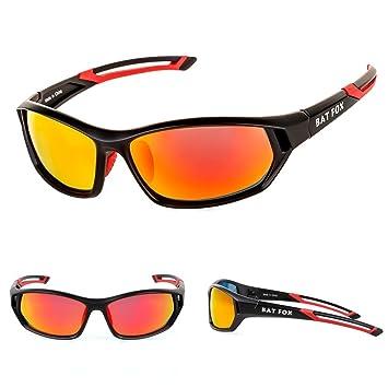 BAT FOX Gafas de Ciclismo Sol Hombre Mujer Polarizadas UV400 Protección Gafas Deportivas Pesca Ski Conducción Golf Salir A Correr Ciclismo Acampada rojo: ...