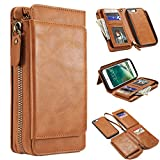 iPhone 8 Plus Case,iPhone 7 Plus Cover,MeiLiio Multifunction PU Leather Zipper Wallet Case with Card Slots Money Pocket Cover Stand Billfold Pouch Magnetic Case for iPhone 7/8 Plus (Light Brown)