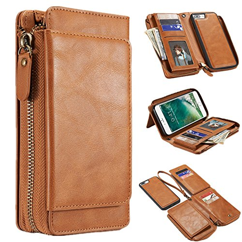 Price comparison product image iPhone 8 Plus Case, iPhone 7 Plus Cover, MeiLiio Multifunction PU Leather Zipper Wallet Case with Card Slots Money Pocket Cover Stand Billfold Pouch Magnetic Case for iPhone 7 / 8 Plus (Light Brown)