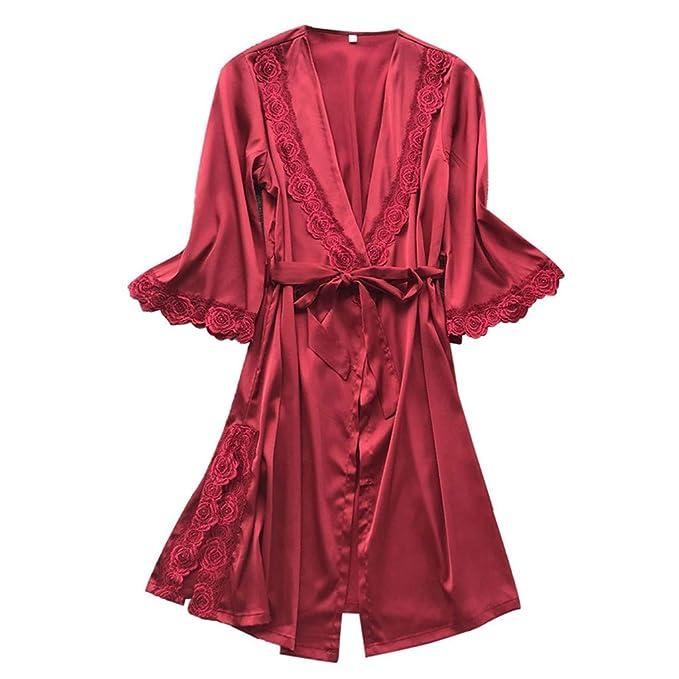 Rcool Camisones Batas y Kimonos Camisones Mujer Camisones Verano Camisones Tallas Grandes Mujer, Cinturón de tentación de Encaje de Moda de Mujer Sexy: ...