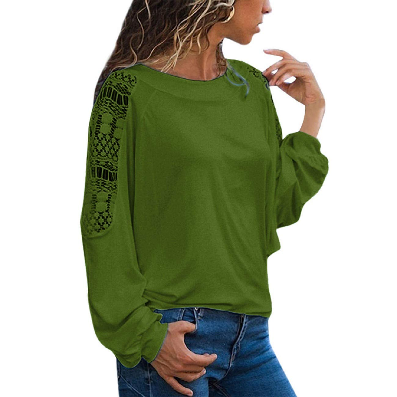 Reokoou Women Lace Patchwork Sweatshirt Plus Size Long Sleeve O-Neck Solid Hollow Out Loose Pullover Tops Blouse