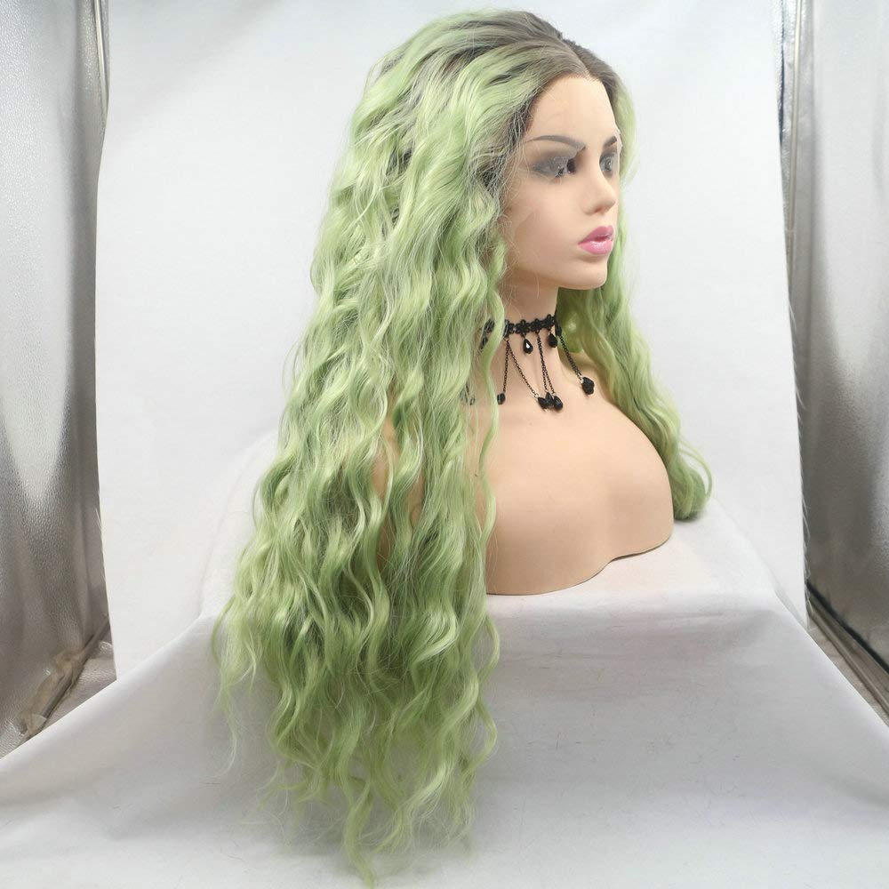 SereneWig 24Inches Long Loose Wave Ombre Pastel Green Lace Front Drag Queen Wig Mermaid Ombre Mixed Multi Green with Dark Root Heat Friendly Synthetic Wigs for Women Cosplay Makeup