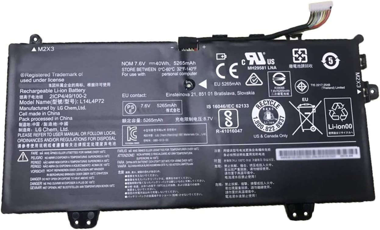 BOWEIRUI L14L4P72 (7.6V 40Wh 5265mAh) Laptop Battery Replacement for Lenovo Yoga 3 11 inch Yoga 700 11 inch Yoga 700-11ISK IdeaPad Series 5B10J46130 L14M4P73 5B10K10215
