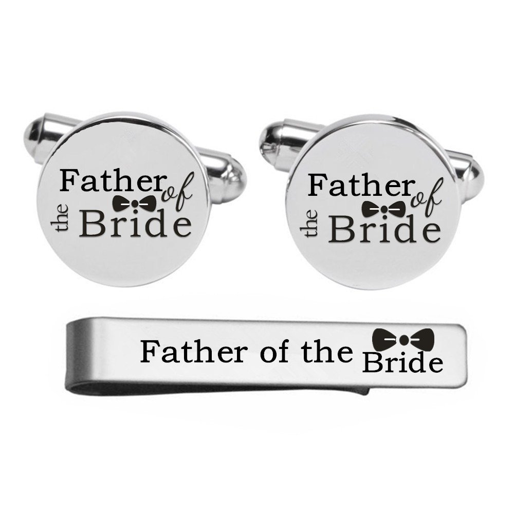 Kooer Custom Personalized Wedding Engraved Cuff Links Tie Clip Set Engrave Wedding Cufflinks Jewelry Gift (Father of the bride set)