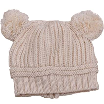 883a5cc5884 Baby Girls Boys Kids Knit Cap Winter Warm Hat (Beige)  Amazon.co.uk  Baby