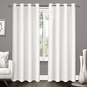 Exclusive Home Curtains Tweed Textured Linen Blackout Window Curtain Panel Pair with Grommet Top, 52x84, Winter White, 2 Piece