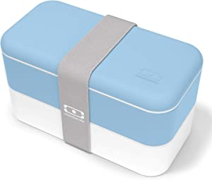 monbento - MB Original Crystal Blue bento Box - 2 Tier Leakproof Lunch Box for Work/School Lunch Packing and Meal prep - BPA Free - Food Grade Safe Food containers