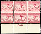 1932 2 Cent Winter Olympics Mint Never Been Hinged Stamp Top Plate Number Block of Six Stamps Scott 716 By USPS
