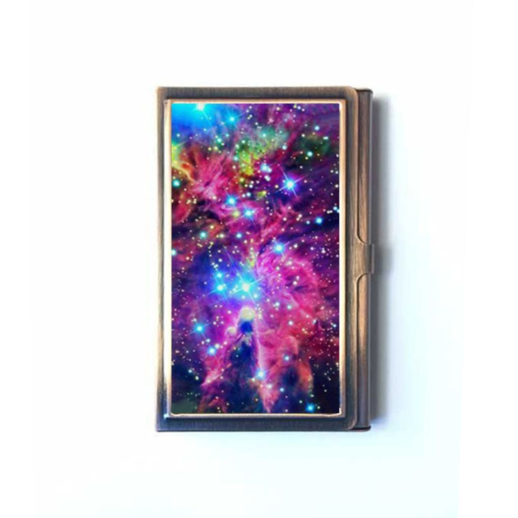 Generic Universe Space Nebula Custom Bronze Rectangle Business Name Card Case,Stainless Steel Good quality card box holder
