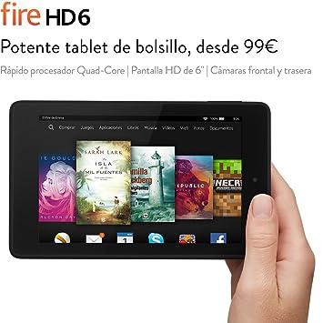 """Fire HD 6, pantalla HD de 6"""" (15,2 cm), Wi-Fi, 8 GB (Negro) - incluye ofertas especiales"""