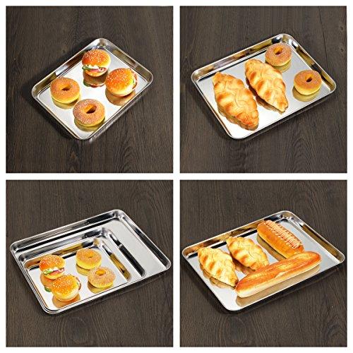 Baking Sheet Set of 3, Bastwe Cookie Tray Pan Stainless Steel Baking Pan, Healthy & Non Toxic, Rust Free & Superior Mirror Finish, Easy Clean & Dishwasher Safe by Bastwe (Image #6)