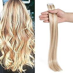 """Tape In Virgin Human Hair Extensions 100% Remy Human Hair 20 pieces x 4 cm wide Human Hair 18""""-50g (#18/613 Ash Blonde/Bleach Blonde)"""