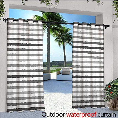 lcony Curtains Gray and White Stripes Monochrome Tone Brush Style Lines Grunge Retro Digital Print Outdoor Patio Curtains Waterproof with Grommets W84 x L84 White Grey ()