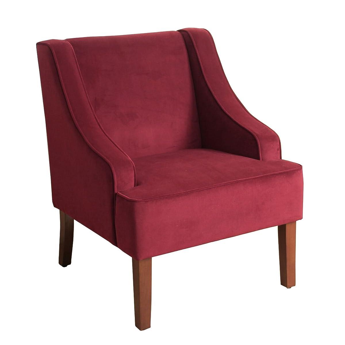 HomePop K6499-B119 Swoop Arm Accent Chair, Medium, Burgundy