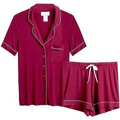e7bdd5b1882 AChili Women s Pajamas Short Set Loungewear Short Sleeve Sleepwear ...