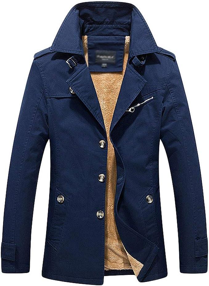 WanYangg Trench per Uomo, Signori Ragazzi Addensare Slim Fit Classico Cappotto Trench Coat Giacca A Vento Soprabito più Velluto Caldo Giacconi