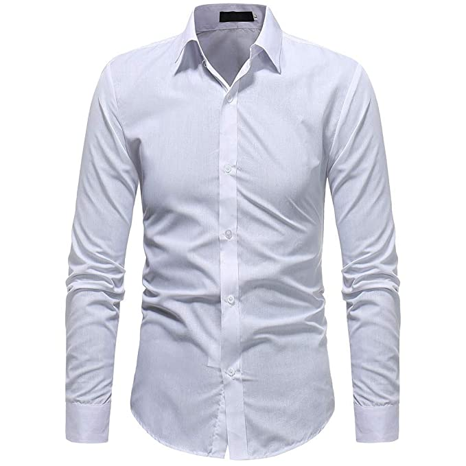 c6e0a14b41 Camisas de Hombre Manga Larga Blancas Slimfit Cuadros Estampadas Camisa de  Hombre Moda Color sólido Masculino Camisas Casual Manga Larga Camisa   Amazon.es  ...